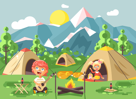 scouting: Stock vector illustration boy sings playing guitar nature national park landscape girl in tent bonfire.