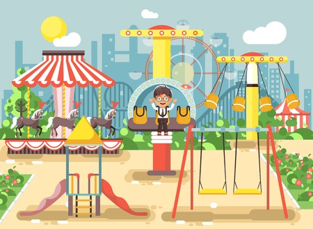 chain swing ride: Vector illustration of cartoon character lonely boy child schoolboy resting in empty amusement park ride on swing, chain or horses carousel, roller coaster, extreme rest in flat style