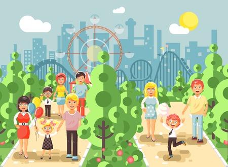 Paseo de paseo de ilustración vectorial a pie de padres con niños, día del niño s, entretenimiento y ocio en el parque de atracciones al aire libre, fondo de la montaña rusa, estilo plano de paisaje urbano
