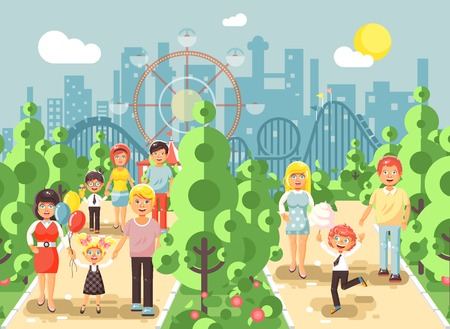 Vector illustration walk stroll promenade of parents with children, child s day, entertainment and leisure in amusement park outdoor, roller coaster switchback background, cityscape flat style Illustration