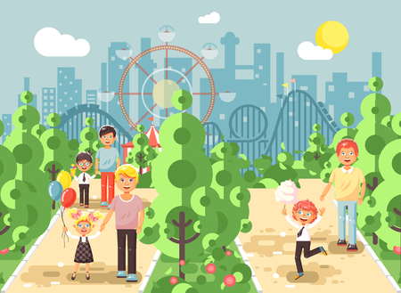 Vector illustration walk stroll promenade boy and girl with dads, child s or father s day, cotton candy on alley pavement amusement park outdoor, roller coaster switchback background flat style Illustration