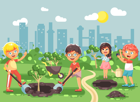Vector illustration cartoon characters of children boy and girl planting in garden seedlings of tree. Illustration