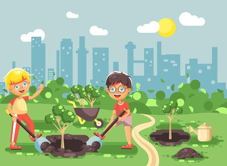 Stock vector illustration cartoon characters of children two little boys dig hole in ground for planting in garden seedlings of tree watering from geek, taking care of ecology city flat style Ilustração