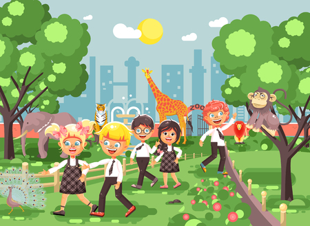 Illustration or banner for site with schoolchildren, classmates on walk, school zoo excursion zoological garden, boys and girls watching wild animals and birds flat style, city