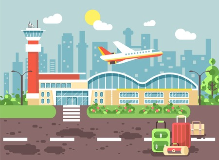 Vector illustration cartoon bags and suitcases standing at airport, late delay departing plane, awaiting for travel trip holiday weekend flat style city background for motion design site banner
