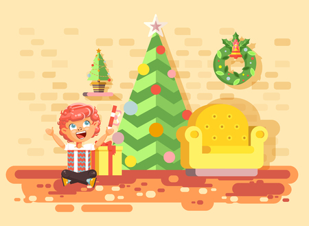 Vector illustration cartoon character child redhead boy sit under Christmas tree, unwrap gifts in home interior room happy New Year and Christmas celebrate party flat style element motion design Illustration