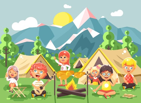 scouting: hildren boy sings playing guitar with girl scouts, camping on nature, hike tents and backpacks, adventure park outdoor background of mountains flat style Illustration