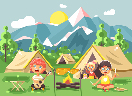 A boy sings while playing guitar with girl scouts, camping on nature with hike tents and backpacks, adventure park outdoor background of mountains flat style