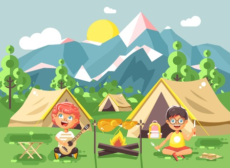 scouting: Boy sings while playing guitar and camping on nature with hike tents and backpacks, adventure park outdoor background of mountains flat style Illustration