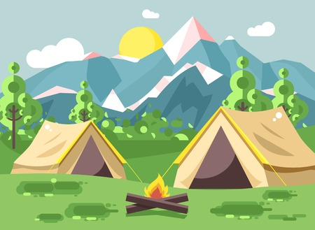 Vector illustration cartoon nature national park landscape with two tents camping hiking bonfire, open fire, bushes lawn, trees, daytime sunny day outdoor background of mountains in flat style