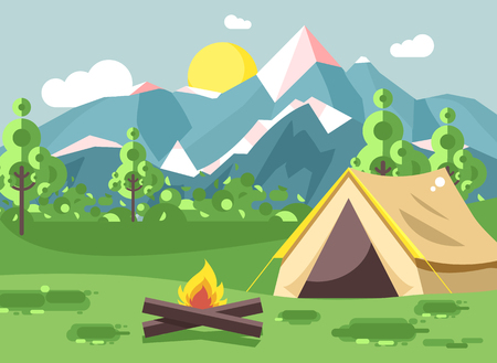 Vector illustration cartoon nature national park landscape with lonely tent camping hiking bonfire, open fire, bushes lawn, trees, daytime sunny day outdoor background of mountains in flat style Illustration