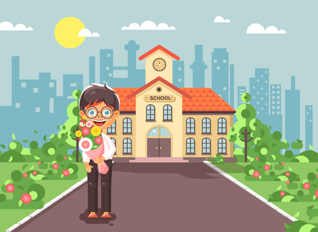 Vector illustration cartoon character, lonely boy brunette schoolboy standing with bouquet flowers in front of building knowledge day start study back to school flat style