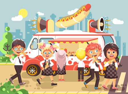 Vector illustration cartoon characters, schoolboys and schoolgirls buy fast food, sandwiches, hot dogs, sausage from car, meals on wheels, street food, school snack flat style Illustration