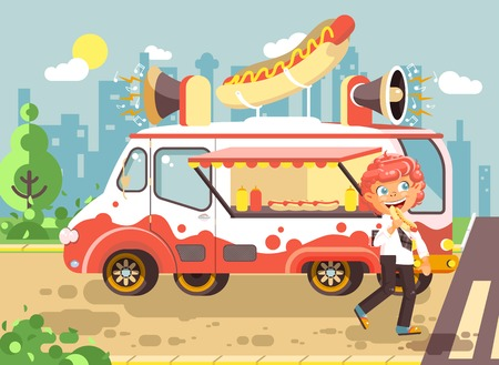 Stock vector illustration cartoon character child, pupil, lonely redhead boy schoolboy eat fast food, sandwiches, hot dog, sausage from car, meals on wheels, city street food, school snack flat style