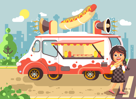hot dog: Stock vector illustration cartoon character child, pupil lonely brunette girl schoolboy eat fast food, sandwiches, hot dog, sausage from car, meals on wheels, city street food, school snack flat style