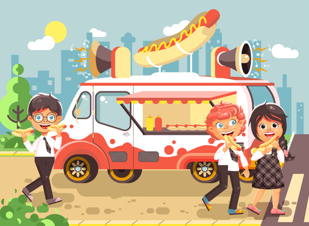 Stock vector illustration cartoon characters children, pupils, schoolboys and schoolgirl buy fast food, sandwiches, hot dogs, sausage from car, meals on wheels, street food, school snack flat style