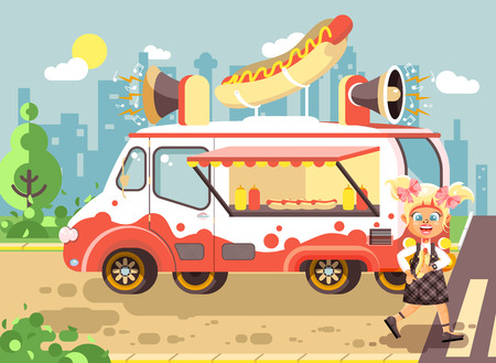 Stock vector illustration cartoon character child, pupil lonely blonde girl schoolboy eat fast food, sandwiches, hot dog, sausage from car, meals on wheels, city street food, school snack flat style