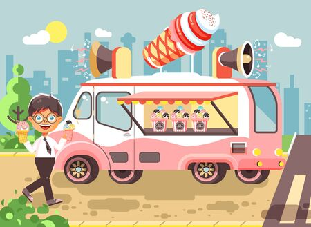Stock vector illustration cartoon character child, pupil, schoolboy lonely brunette boy buy eat ice cream, vanilla, chocolate, popsicles from car, meals on wheels, street food, school snack flat style