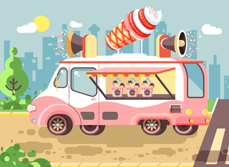 Vector illustration cartoon car with refrigeration unit, truck for sale and manufacture ice cream, vanilla, chocolate, popsicles, city meals on wheels, street food, sweet snack in flat style