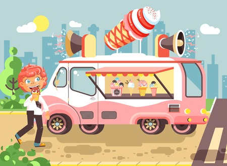 Vector illustration cartoon character child, pupil, schoolboy lonely redhead boy buy eat ice cream, vanilla, chocolate, popsicles from car, meals on wheels, street food, school snack flat style