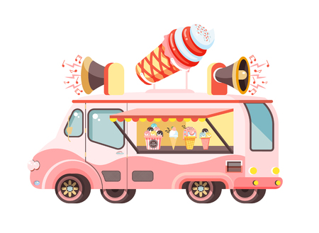 Vector illustration isolated car with refrigeration unit, truck for sale and manufacture ice cream, vanilla, chocolate, popsicles, meals on wheels, street food flat style on white background Illustration