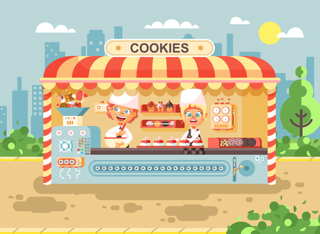 Stock vector illustration cartoon characters children, pupils, schoolboys and schoolgirls little business sale manufacture of baking cookies, muffins, stall meals, food, school task snack flat style.
