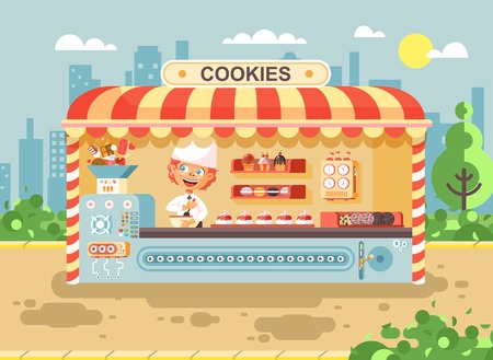 Vector illustration cartoon characters child pupil, schoolboy little redhead boy manufactures of baking cookies for cooking business sale muffins, stall meals, food, school task snack flat style