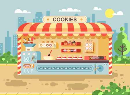Vector illustration cartoon urban stall cooking business manufactures of baking cookies for sale, shelves with cupcakes, cakes, sweets, pastries, biscuits, muffins flat style on city background Ilustração