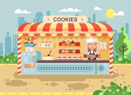 Ilustración vectorial personaje de dibujos animados niño alumno, colegiala niña poco vendedor fabrica hornear galletas, la cocina de negocios muffins venta, pastelitos, pasteles, dulces, pasteles, galletas estilo plano Foto de archivo - 85425819