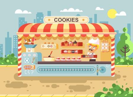 Ilustración vectorial personajes de dibujos animados niño alumno, colegial poco vendedor chico fabrica de hornear galletas para cocinar la venta de negocios muffins, stall comidas, comida, escuela tarea snack estilo plano Foto de archivo - 85389655