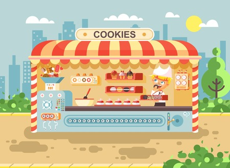Vector illustration cartoon characters child pupil, schoolboy little seller boy manufactures of baking cookies for cooking business sale muffins, stall meals, food, school task snack flat style