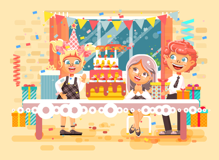 Vector illustration cartoon characters children, friends, boys, girls celebrate happy birthday, congratulating, giving gifts, huge festive cake with candles flat style on background of window