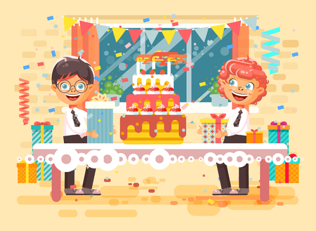 Vector illustration cartoon character children two friends boys celebrate happy birthday, congratulating give gifts, huge festive cake with candles and confetti flat style on background of window