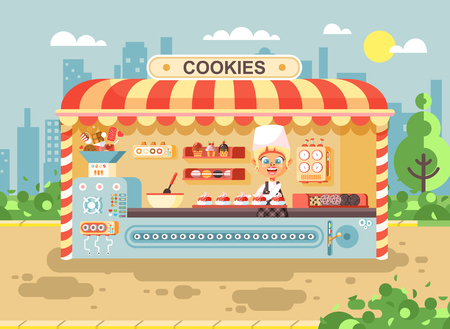 Vector illustration cartoon character child pupil, schoolgirl little seller girl manufactures baking cookies, cooking business sale muffins, cupcakes, cakes, sweets, pastries, biscuit flat style Ilustração
