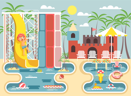 frolicking: Vector illustration cartoon character child redhead boy riding water slide falling in swimming pool frolicking or resting aqua park, water attractions, deckchairs under sun umbrella flat style Illustration