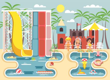 cartoon umbrella: Vector illustration cartoon characters children boy and girls sitting deckchairs under sun umbrella near swimming pool water slide, frolicking, resting in aqua park, water attractions flat style