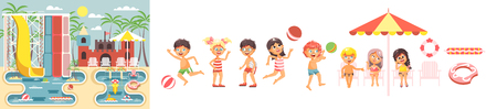 Boys and girls enjoying the beach illustration. 向量圖像