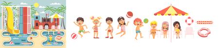 Jongens en meisjes genieten van het strand illustratie.