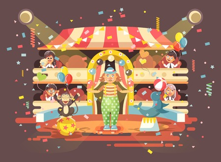 Vector illustration cartoon characters children, schoolboy, schoolgirl, boys and girls watching performance in interior of circus, show clown juggles on arena, perform trained animals flat style