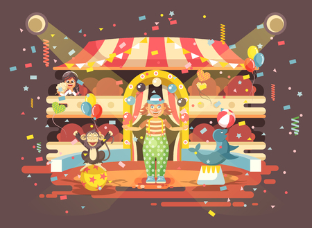 Vector illustration cartoon character lonely child, schoolgirl, brunette girl watching performance in interior of circus, show clown juggles on arena, perform trained monkey animal in flat style