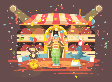 Vector illustration cartoon character lonely clown juggles balls, performance in interior of empty circus, show on arena, perform trained monkey, seal, sea calf, sea dog animal in flat style Illustration
