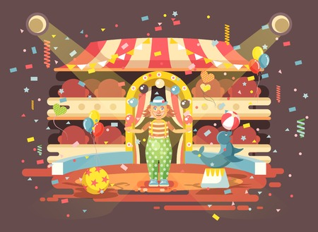 Vector illustration cartoon character lonely clown juggles balls, performance in interior of empty circus, show on arena, perform trained seal, sea calf, sea dog animal in flat style Illustration