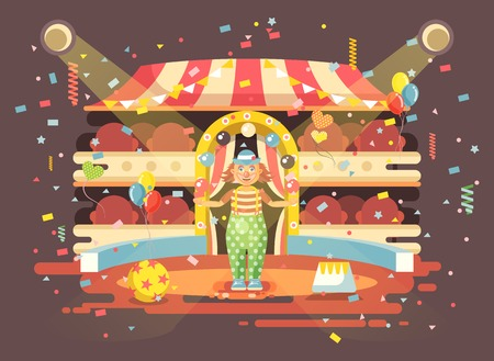 Vector illustration cartoon character lonely clown juggles balls, performance interior empty circus, show on arena, perform, training flat style for motion design, infographics, banner, brochure Illustration