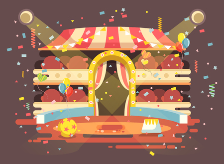 Vector illustration cartoon performance interior empty circus background, show on arena, perform with confetti in flat style for motion design, infographics, banner, brochure Illustration