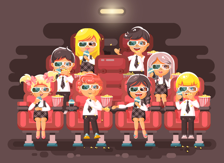 Vector illustration cartoon characters children, classmates, pupils, schoolboys, schoolgirls, boys, girls sitting in armchairs, cinema hall, eat popcorn, watching movie in 3d glasses flat style Ilustração