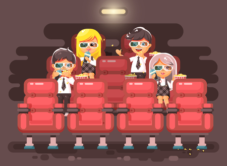 Vector illustration cartoon characters children, classmates, pupils, schoolboys, schoolgirls, boys, girls sitting in armchairs, cinema hall, eat popcorn, watching movie in 3d glasses flat style Ilustrace