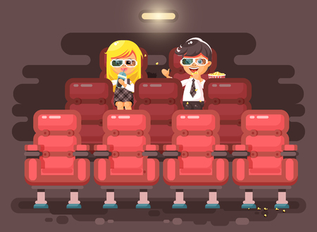 Vector illustration cartoon characters children, classmates, pupils, schoolboy, schoolgirl, boy and girl sit in armchairs, cinema hall, eat popcorn, watching movie in 3d glasses flat style