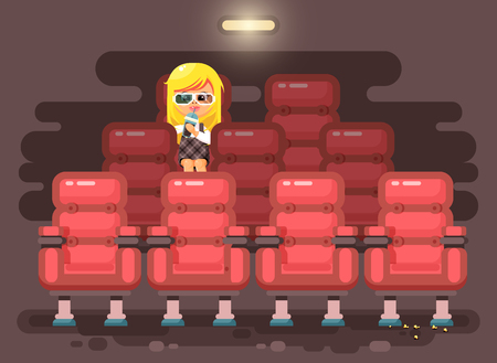 Vector illustration cartoon character child pupil, schoolgirl, lonely blonde girl sits in armchair, cinema hall, eat popcorn, watching film or movie in 3d glasses flat style