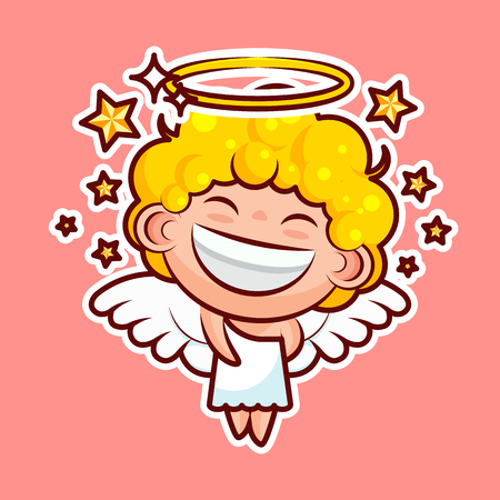 Sticker emoji emoticon, emotion walk, hang out, star, date vector illustration happy character sweet divine entity, cute heavenly angel, saint spirit, wings radiant halo