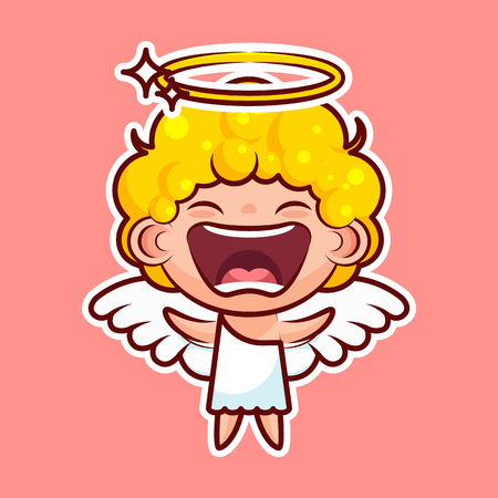 Sticker emoji emoticon, emotion joy, shouting vector isolated illustration happy character sweet divine entity, cute heavenly angel, saint spirit, wings, radiant halo Illustration